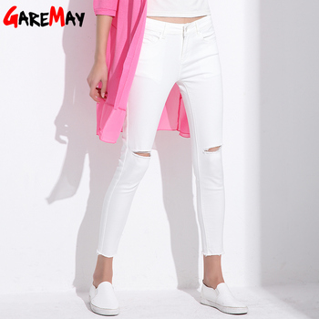 Stretch Jeans Femme Denim Capri Ripped Jeans For Women 2018 Spring Woman Blue Destroyed Jeans Feminino Pencil Pantalon GAREMAY
