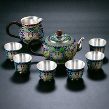 High grade 999Silver Products Hand made Cloisonne Tasting cup Kung Fu  Teacup gift for family and friends kitchen office tea se