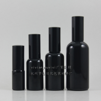 wholesale 30ml shiny black travel refillable perfume bottle with black atomiser spray ,glass black 30ml perfume container