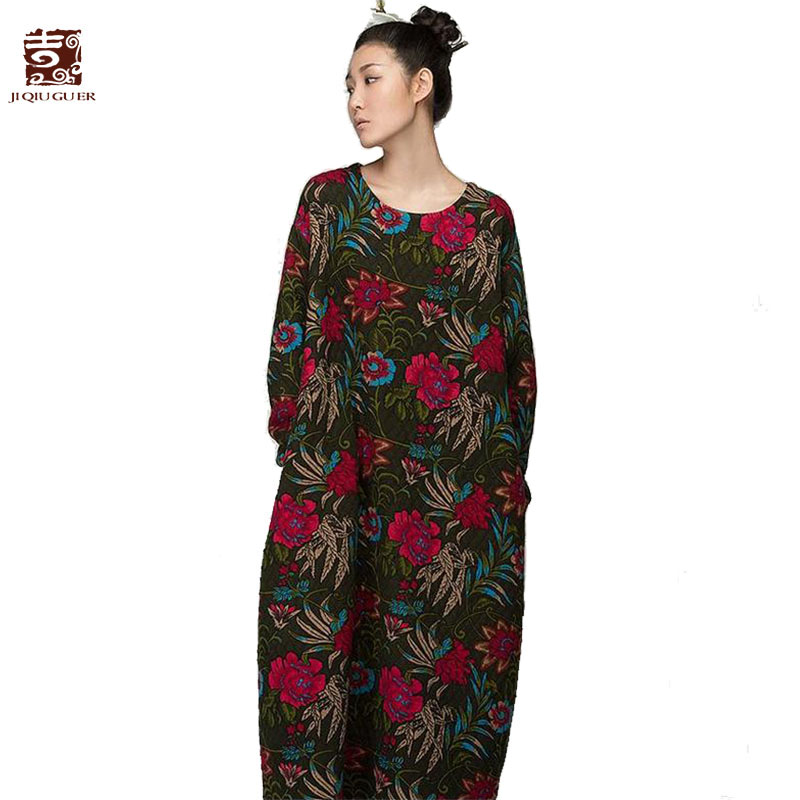 Jiqiuguer Women Floral Print Cotton Dresses Full Sleeve O-neck Flowers Long Thicken Warm Autumn Winter One Piece Dress G153Y013