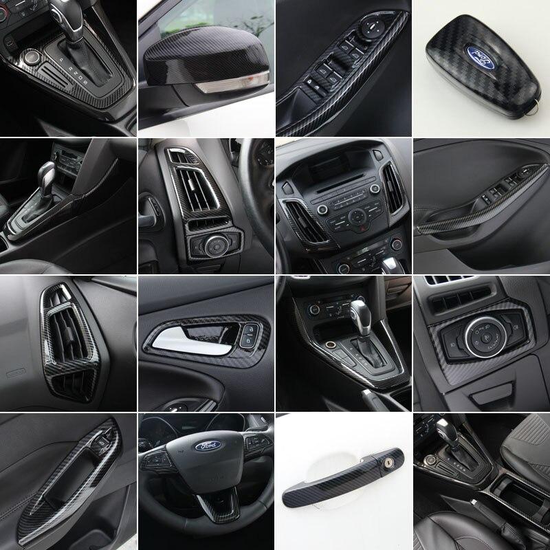 For Ford Focus 2015 2016 2017, wysokiej jakości wykończenie wnętrza z włókna węglowego ABS, wykończenie deski rozdzielczej stylizacja samochodu