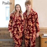 Warm Coral Fleece Pajamas Couple Winter Couple Pajama Sets Chinese Dragon Flannel Sleepwear Women Men's Homewear Pajama Pant Set
