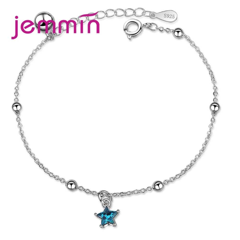 New Attractive 925 Sterling Silver Super Shining Blue Star Shape Design Pendant Bracelets For Women Jewelry Wholesale