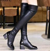 2016 Fashion PU Leather Over Knee Boots Women Sequined Toe Elastic Stretch Thick Heel Thigh High