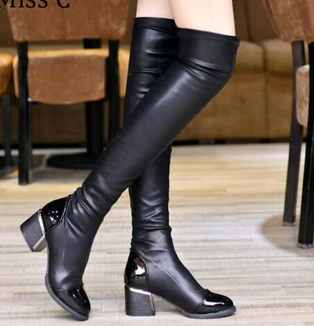 2016 Fashion PU Leather Over Knee Boots Women Sequined Toe Elastic Stretch Thick Heel Thigh High Riding Boots Big plus Size 019