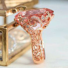 цены Huitan New Arrival Engagement Ring Fashion Rose Gold Color Proposal Ring For Women With Cute Clear Pink CZ Stone Trendy Jewelry