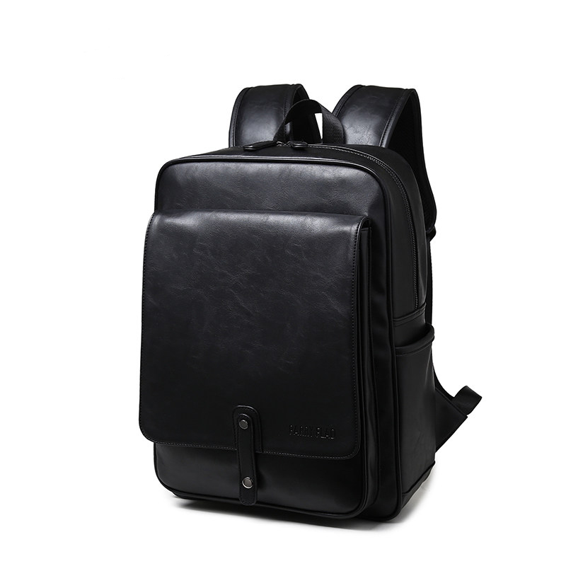 Trendy Succinct High Quality PU Leather Backpack Men Fashion Korean Style Simple Casual Daypack Women Trendy Travel Backpack