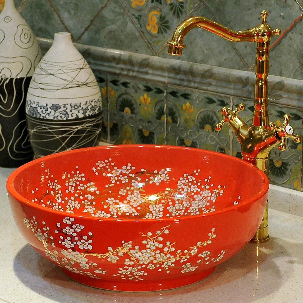 China Painting ceramic wash basins counter top sink bathroom sinks ceramic vessel wash basin (1)