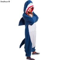 Winter Adult Animal Shark Pajamas Hot Sale Fleece Custom Made Blue Sharky Onesies Cosplay Costume Pyjamas