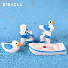 5pcs/set seaside Seagull Boat Stump figurine cartoon animal