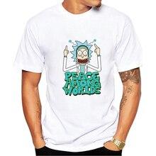 Фотография 2017 Fashion Rick And Morty design t shirt men Anime T-shirts Peace among worlds folk Cartoon Cool tee shirt homme