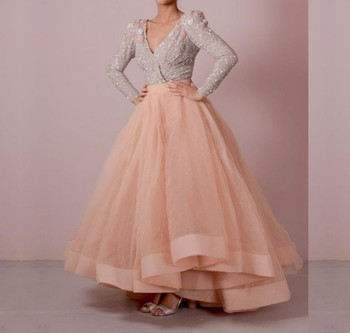 Elegant Long Sleeve V-Neck Evening Dresses 2019 Abendkleider Formal Sexy Peach Sequin Ball Gowns Prom Party Dress For Wedding