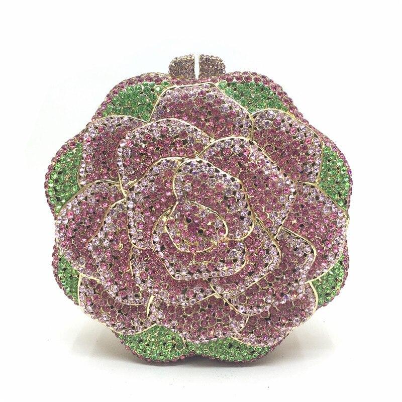 Women's Pink Flower Crystal Evening Bag Luxury Clutch Bags Wedding Diamond Beaded Bag Rhinestone Fashion Shoulder Bags A143
