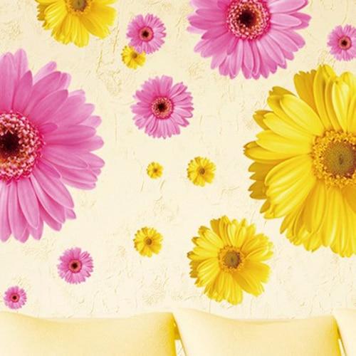 2 set amovibile decalcomanii din PVC roz și galben flori decorative - Decoratiune interioara - Fotografie 5