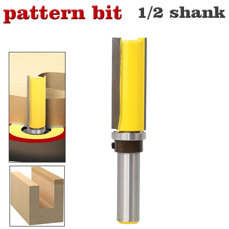 """1pc Template Router - Flush Trim bit - with 1/2"""" Shank Woodworking cutter Tenon Cutter for Woodworking Tools"""