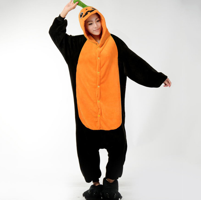 fe513c3d7 HKSNG Winter Adult Cartoon Animal Halloween Flannel Pumpkin Head Pajamas  Party Kigurumi Onesie Homewear Soft Flannel