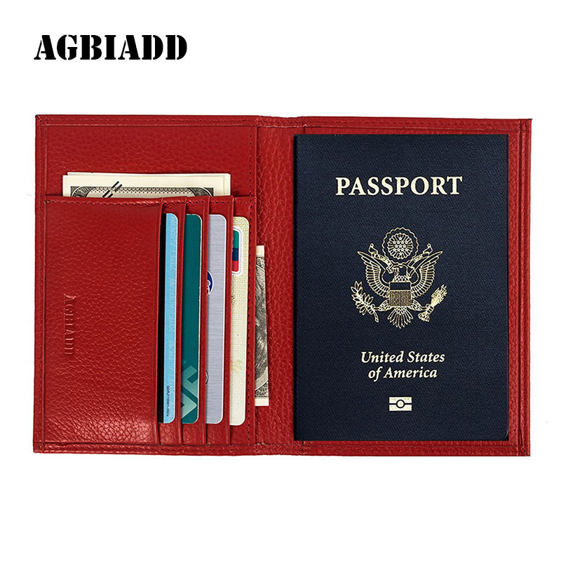 AGBIADD women Genuine Leather Passport Cover Russian Emblem logo Credit Card Holder Travel Document Cover Passport Holders B598