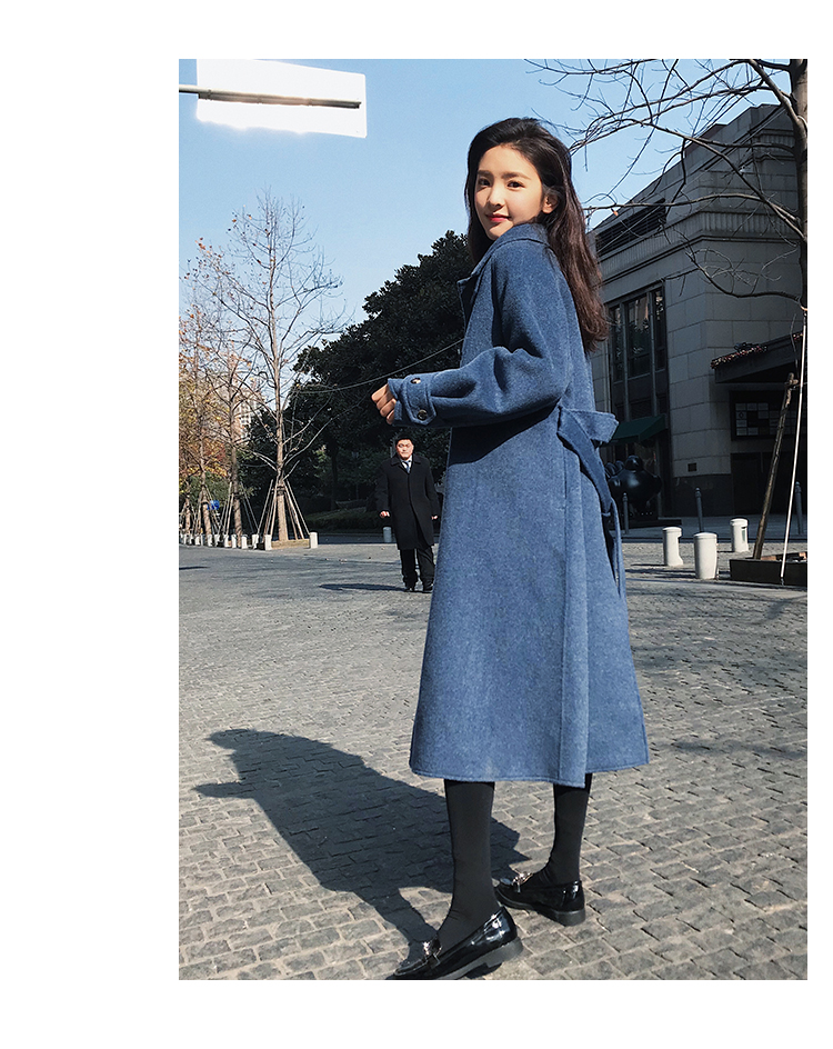 Lâche Cachemire De Coupe Manteaux Long Dames Manteau Mode Outwear Pardessus Femmes vent Bleu Épaissie Chaud Mélange D'hiver Élégant Laine xqYHgn18