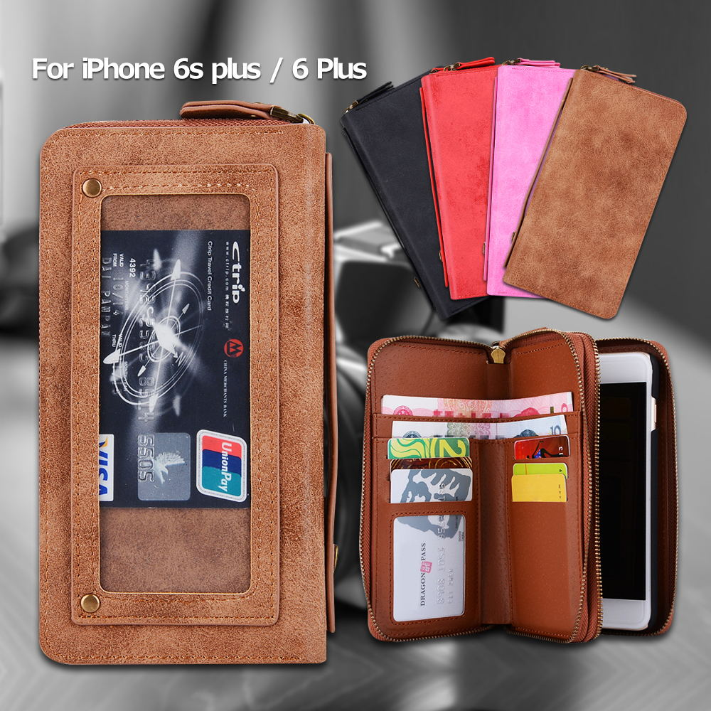 product for iPhone 6s Plus 5.5-inch Case POLA PU Leather Zippered Wallet Bag Case for iPhone 6 s plus / 6 Plus with Earphone Hole