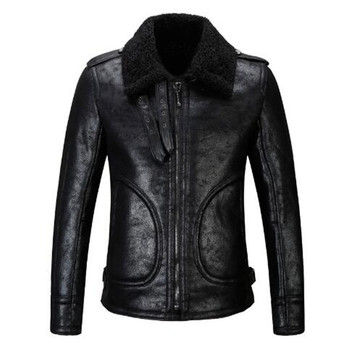 Male jacket leather men's leather jackets collars vogue of new fund of cultivate morality locomotive fur coat to keep warm wind