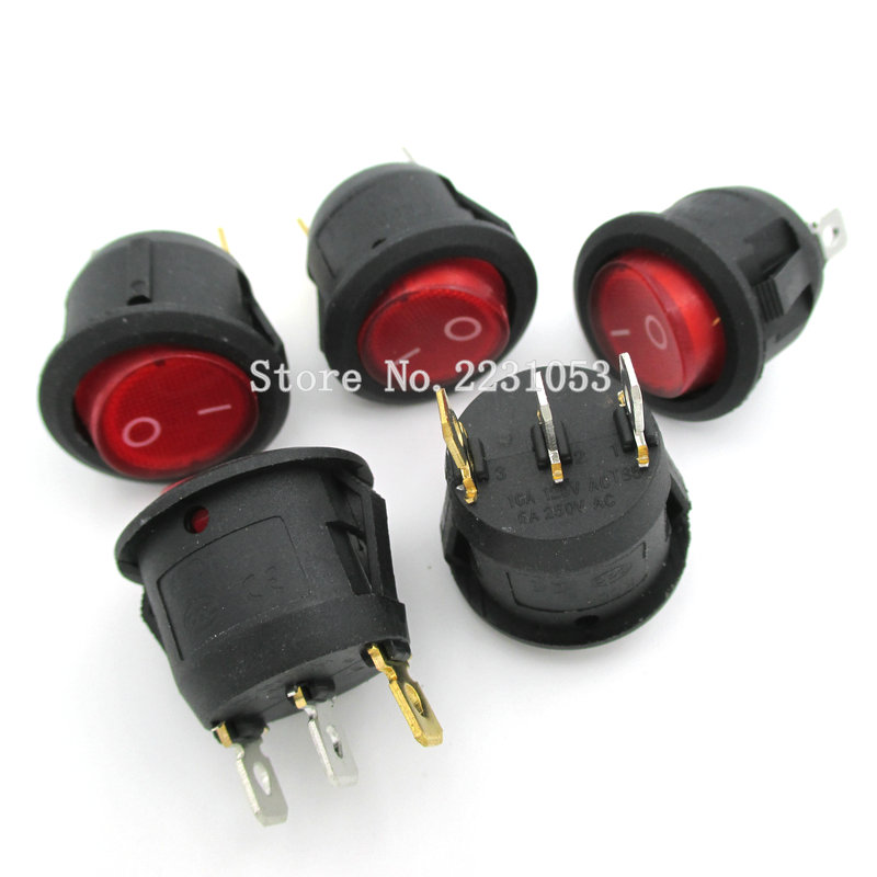 10PCS/LOT 23mm Diameter Red Light ON OFF SPST Round Rocker Switch 3 Pins 6A/250V 10A/125V AC Power Switch KCD1-105 kcd1 on off 4pin boat car rocker switch 6a 10a 250v 125v ac red yellow green blue button best price