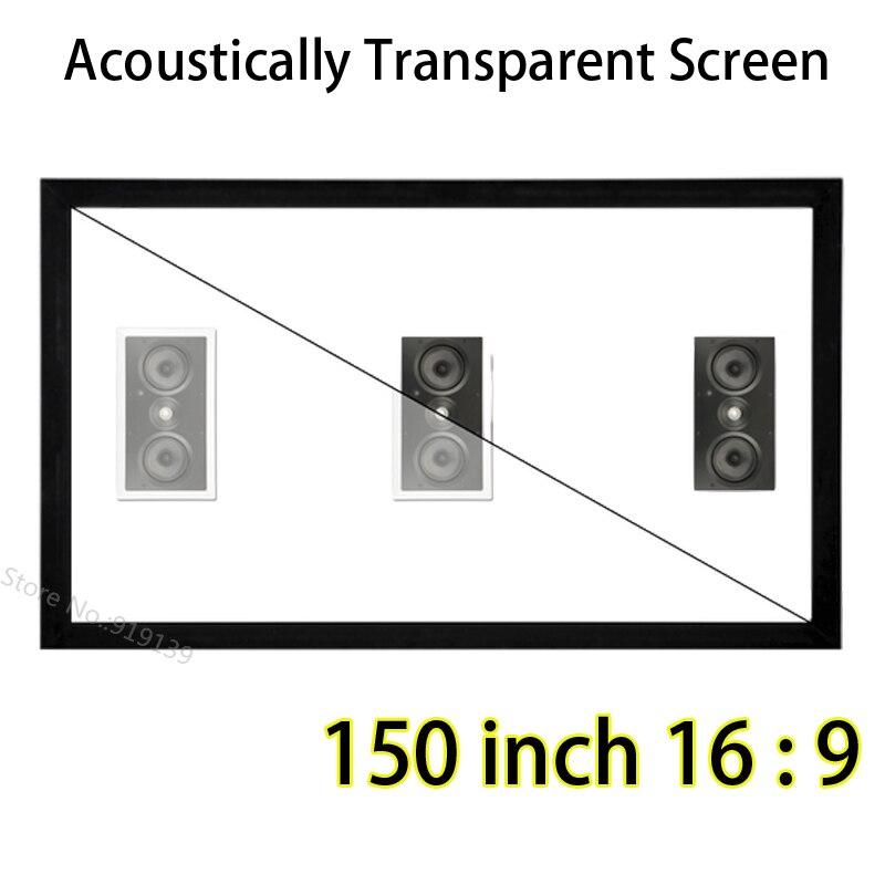Marco de aluminio de pantalla fija DIY de gran tamaño 150 pulgadas 3D acústico transparente con terciopelo negro