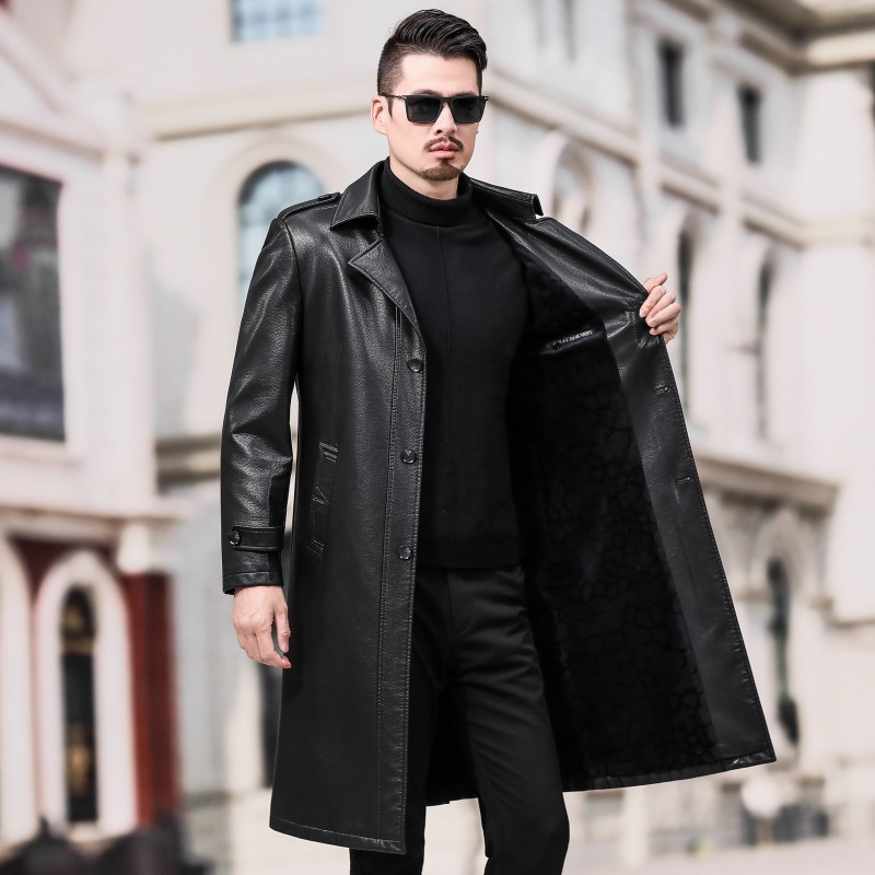 1966 New Autumn&Winter Clothes Plus Size Thickened Long Man Overcoat Long To Knee Coats Tide Men's Leather   Trench   Coat