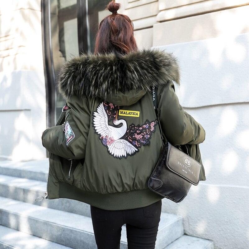 army Près Hiver Noir Coton Bas Du Nouvelle Coréenne Avec Femmes Coupe rouge Coton Lâche rembourré Veste Le Corps blanc Green Épais De Vers Version 2018 xvn1R