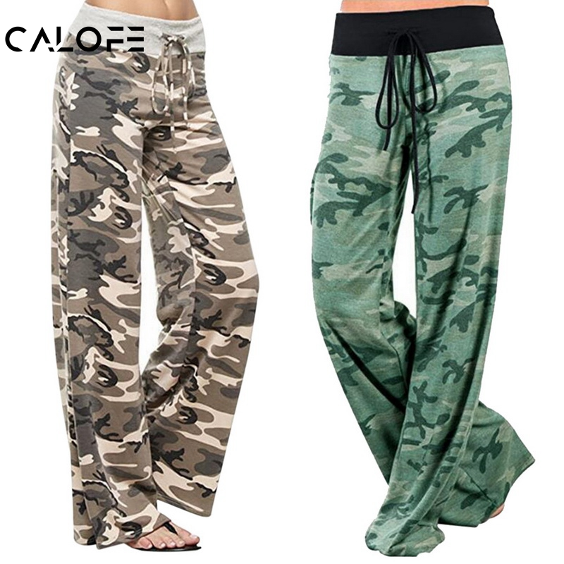 CALOFE 2019 Spring New Casual Camouflage Print Women Drawstring Trousers Elastic Waist   Wide     Leg   Loose   Pants   Femme Plus Size 3XL