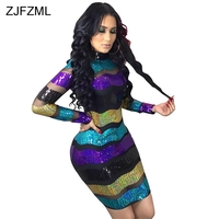 Colorful Stripe Sexy Sequin Dress Women Fashion Mesh Patchwork See Through Package Hip Dress Spring Long Sleeve Turtleneck Dress