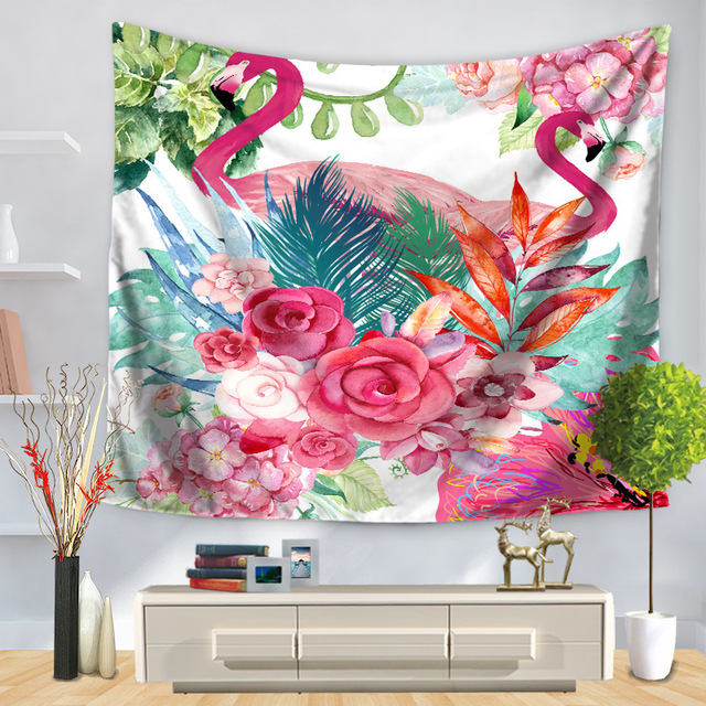 Green Leaf Flowers Pink Flamingo Wall Hanging Tapestry Beach Towel ...