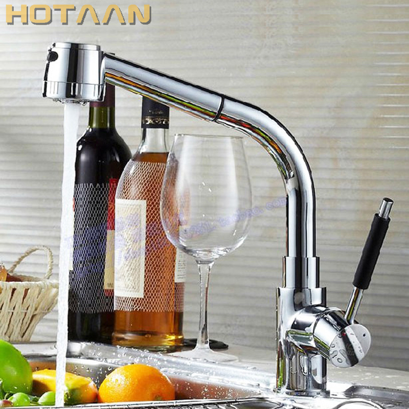 Free Shipping Pull Out Faucet Copper E Single Hole Kitchen Faucet Sink Tap Thickening Type Chrome Finish Torneira YT-6005