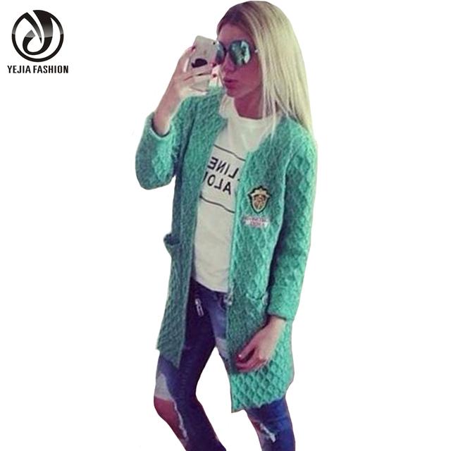 YEJIA MODA Mujer Otoño Invierno Suéter Ocasional 2017 Señoras Del O-cuello de Punto Cardigans Femme Tirón Sólido Rojo Verde Gris Poncho
