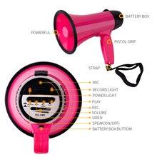 Mealivos Portable Loudspeaker 20 Watt Power Pink Megaphone Speaker Strap Grip Record Play