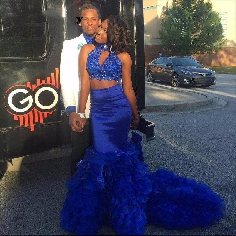 sodigne two piece royal blue prom dress black girl african