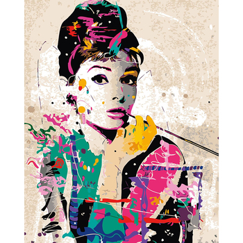 אודרי הפבורן מודפס צבעוני תמונות ציורי שמן diy מודולרי צביעה על ידי מספרים 40*50 ס