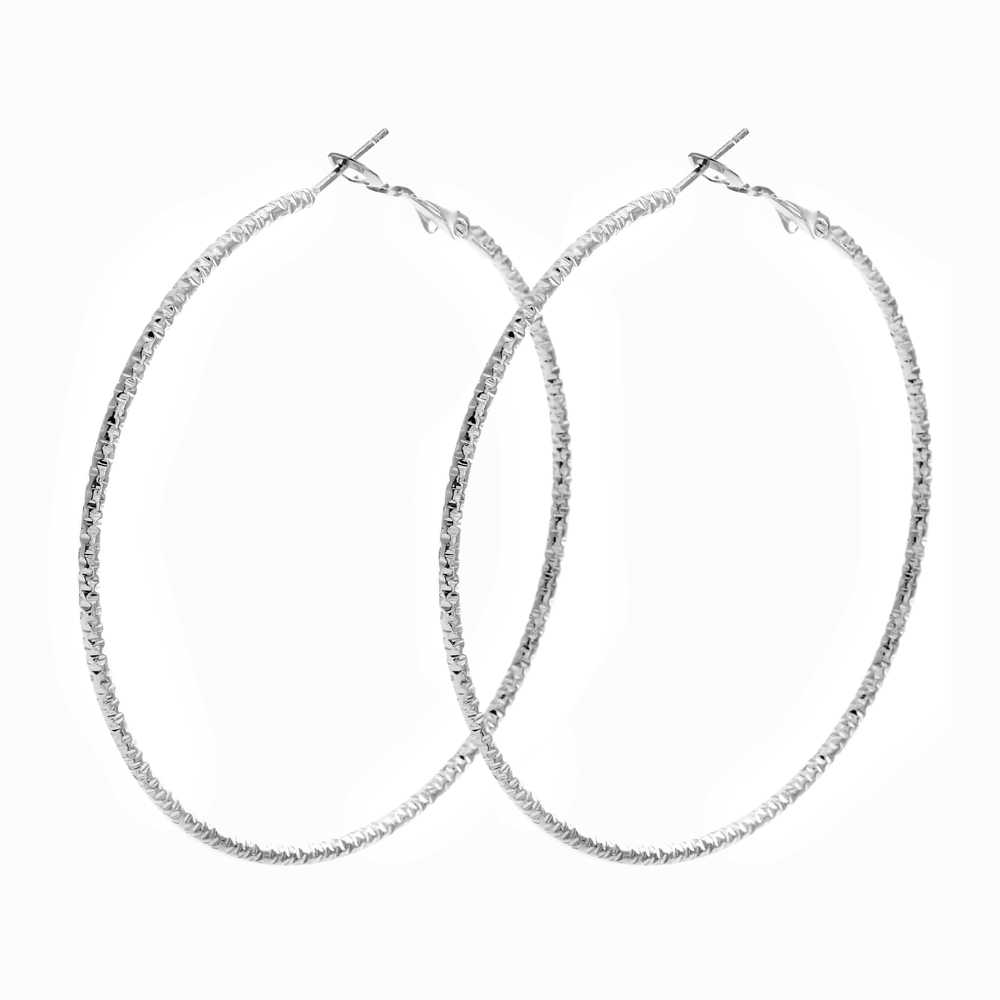 LUBINGSHINE Màu Bạc Big Hoop Earrings Đối Với Phụ Nữ Thời Trang Đồ Trang Sức Trang Phục Tối Giản Nữ Vòng Tròn Lớn Earing JJAL E817