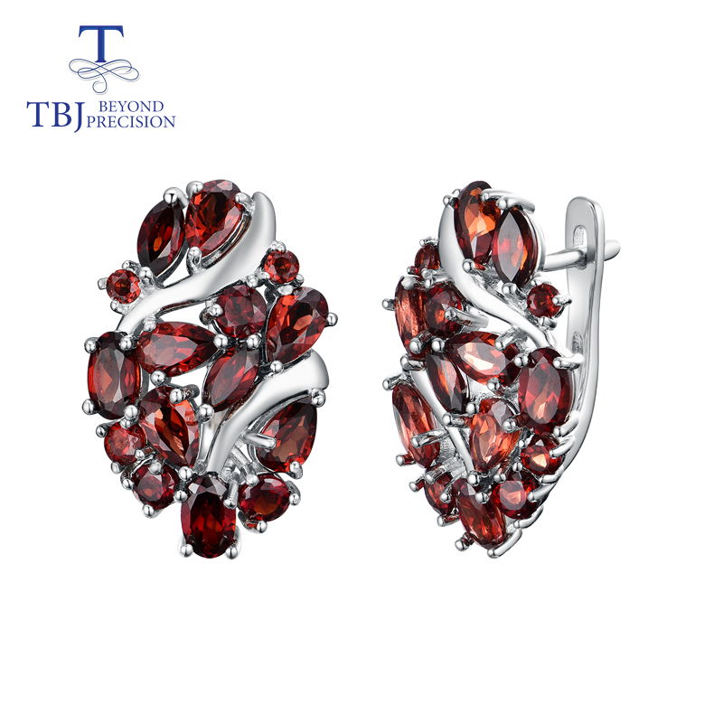 TBJ Natural Mozambique garnet clasp earring 925 sterling silver fine jewelry for women wife luxury design