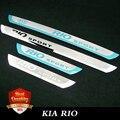 Travesaño de la puerta placa del desgaste del acero inoxidable 4 unids/set accesorios del coche Para KIA RIO k2 sedán hatchback 2014 2015 2016 Nuevo Rio