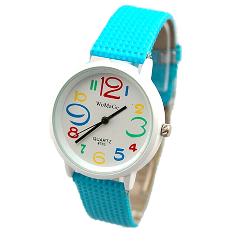 new women watch fashion colored number time design 8 colors leather strap womage brand quartz lady dress casual wristwatches hot