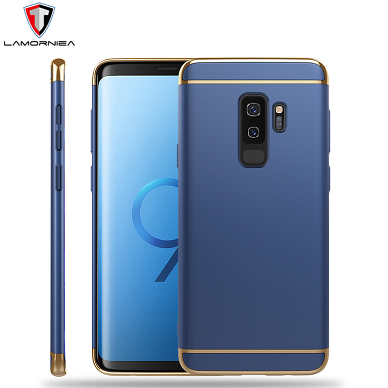 Lamorniea Phone Case For Samsung Galaxy S9 Cover Galaxy S9 Plus 3 in 1 Plating Metal Hybrid PC Back Cover For Samsung S8 Plus