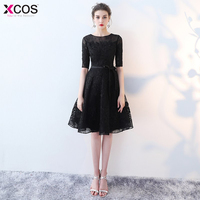 In Stock Red Cocktail Dresses 2018 Elegant Short Little Black Dress Lace Formal Dresses Cheap Simple Short Sleeve Prom Gown