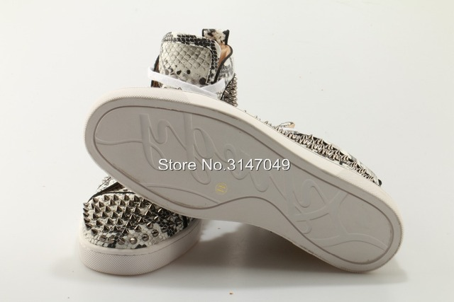 Snake Lace UP Men Casual Shoes White Fashion Sneakers Spring Autumn Breathable Suede Flats With Silver Rivets OKHOTCN Plus Size