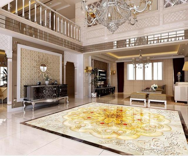 Marmer In Woonkamer : D floor custom d behang woonkamer aziatische sieraden bloem