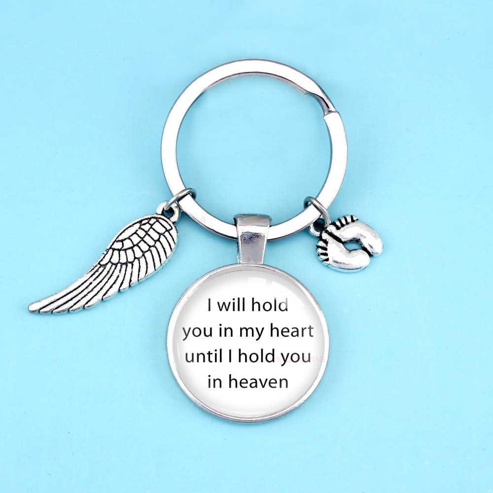 Baby Feet Wings I Will Hold You in My Heart until In Heaven Keychain Key Chains Women Men Unisex Jewelry Gift