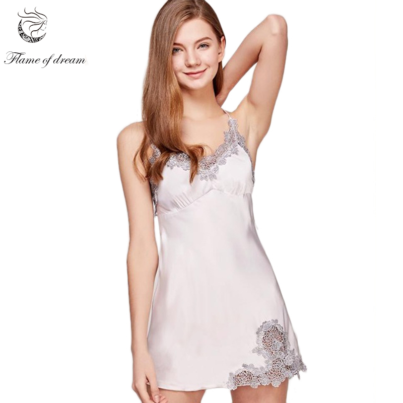 Satin Lace Satin Nightwear Sexy Sleepwear Nightgown Night Dress Women Sleepwear Nighty 1178