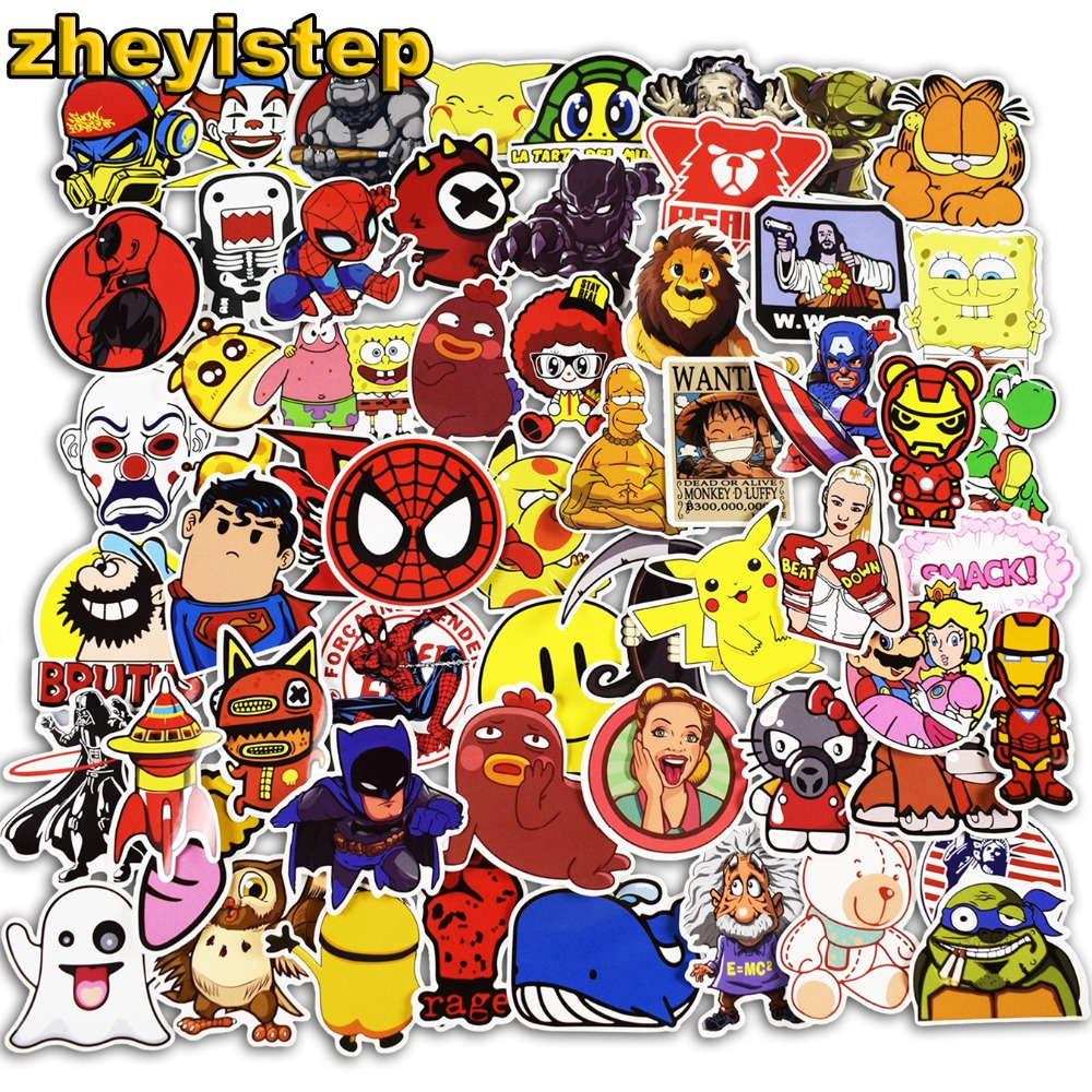 300 Pcs Mixed Anime Cartoon Stickers for Laptop Guitar Skateboard Luggage Motorcycle Kid ...