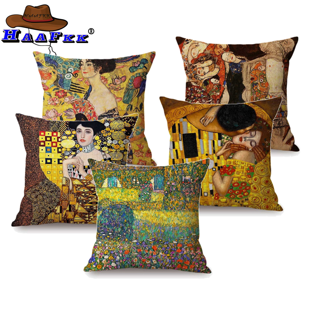 Us 2 79 44 Off Gold Luxury Decorative Oil Painting Home Pillow Case Cover Gustav Klimt Gallery Collection Sofa Chair Cushion In