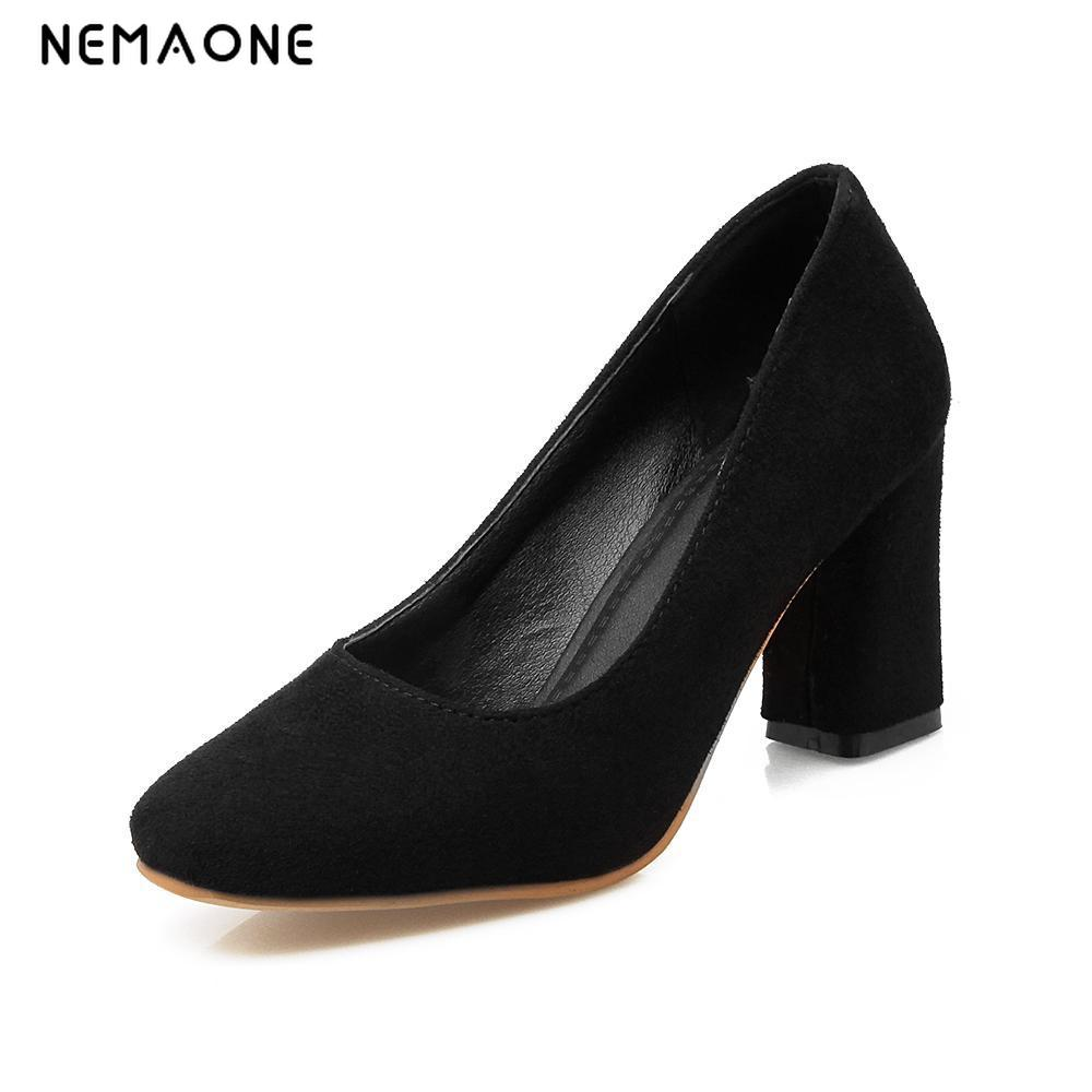 NEMAONE New high heel shoes woman square toe ladies pumps women thick heel elegant office shoes red black apricot pumps new arrival square toe horse hair fashion shoes woman buckle high heel platform high quality women pumps ladies shoes slip on