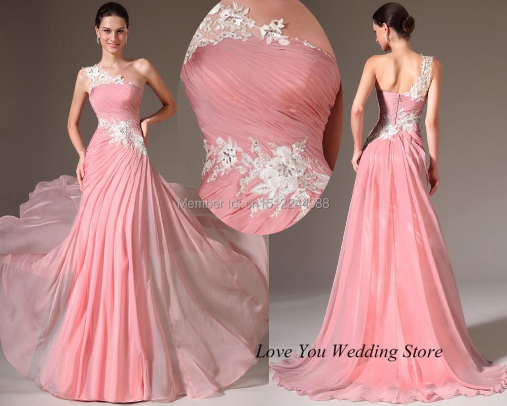 Vestido de Gala 2015 de la Venta Caliente de Color Rosa de Un Hombro ...